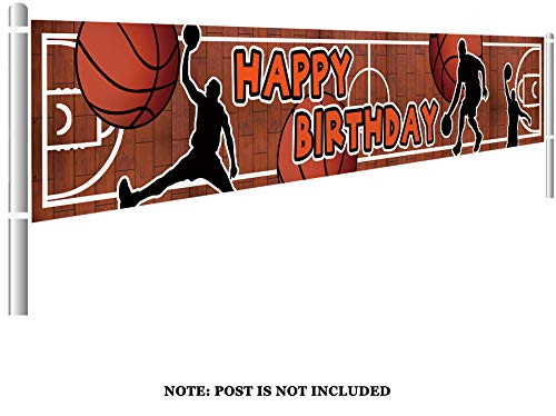 Colormoon Basketball Birthday Banner, Large Basketball Party Supplies Decorations, Sports Happy Themed Birthday Banner (9.8 x 1.5 feet)]()