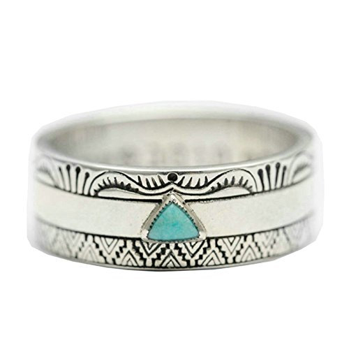 Beydodo Wedding Ring Sterling Silver for Men Vintage Indian Turquoise Ring Size 4.5 Gothic Ring for Men ()