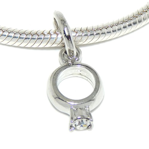 Bead Engagement Dangle Ring (Pro Jewelry Engagement Ring Dangle Bead Compatible with European Snake Chain Bracelets)