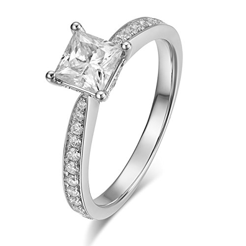 4-Prong Set 1CT 5.5MM D-F VS Princess Brilliant Cut Moissanite Solitaire Diamond Engagement Wedding Ring in 14K Solid Gold (white-gold, 8)