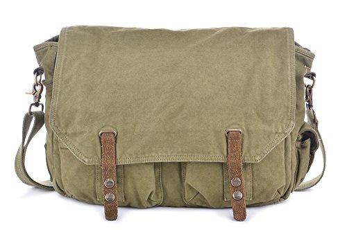 Gootium Canvas Satchel Vintage Messenger Bag Men's Shoulder Bag - Fit Laptop Up-to 15.6 Inch Green