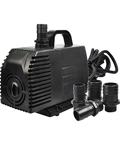 Simple Deluxe 1056 GPH Submersible Pump with 15' Cord, Water Pump for Fish Tank, Hydroponics, Aquaponics, Fountains, Ponds, Statuary, Aquariums & Inline 3000 Series Replacement Pre Filter