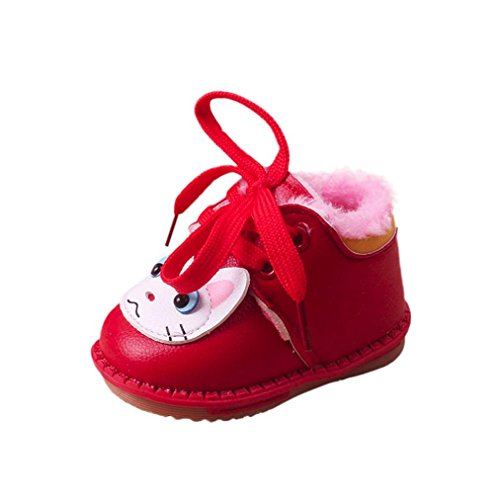 Huhu833 Kinder Mode Mädchen Schuhe Babyschuhe Warm Flock Wanderer Stiefel Rot