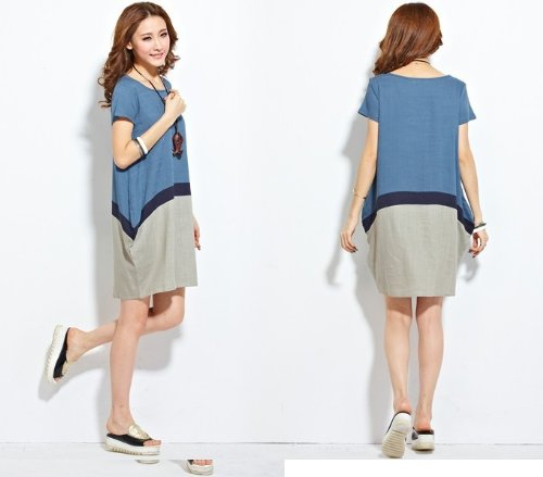 b455b78f47 Amazon.com   Maternity Fashion Dress Linen Summer Clothes Clothing for Pregnant  Women Pregnancy Wear (Size XL) Blue and Gray Color   Everything Else