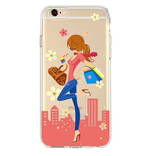 For iphone 7 plus case,Transparente TPU Coque Silicone Case Ultra Slim Premium Soupe Skin de Protection Pare-Chocs Anti-Choc Hülle pour Apple iPhone 7 plus (5.5 pouces)-Fille de shopping
