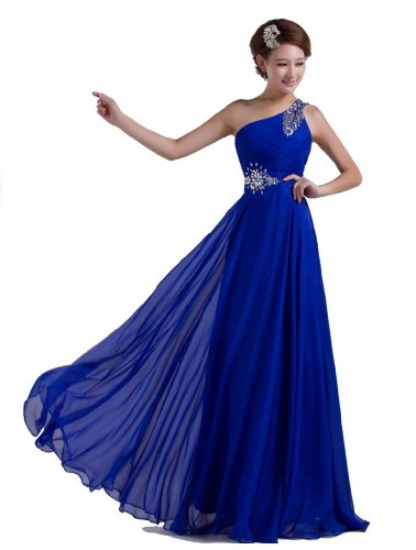 Buy blue beaded one shoulder dress - 2