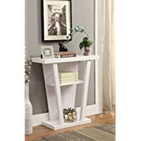 Contemporary 3-tier Console Sofa Table Shelf, White