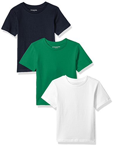 Amazon Essentials Toddler Boys' 3-Pack Short Sleeve Tee, Green/Navy/White, 4T