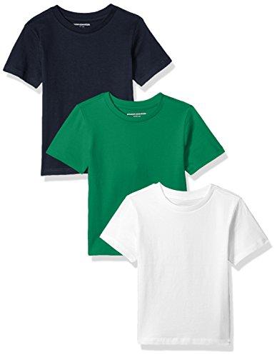 Amazon Essentials Little Boys' 3-Pack Short Sleeve Tee, Green/Navy/White, S - Amazon Green