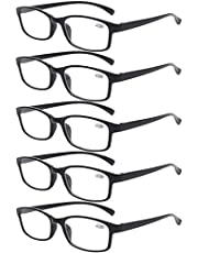 Reading Glasses 5 Pairs Quality Readers Spring Hinge Vintage Glasses for Reading for Men and Women