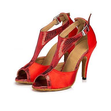 XIAMUO Anpassbare Frauen Wildleder Sohle Satin Schuhe Modern/Salsa/Latin/Swing Schuhe Ferse schwarz Latin Dance Sneakers/Tap, Rot, US 9.5-10/EU 41/ UK 7,5-8/CN 42