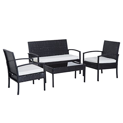 Outsunny 4 Piece Outdoor Patio Armchair and Loveseat Conversation Set – Brown Review