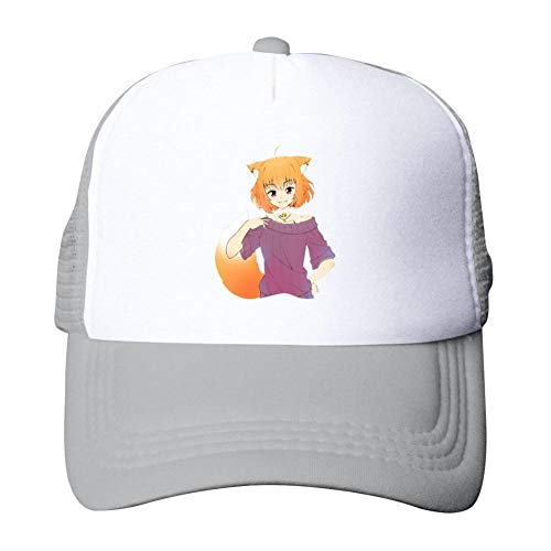 Adult mesh Cap Fox Girl T Shirt Truck Driver Sun hat Adjustable Adult mesh Cap Gray ()