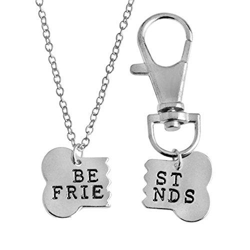 2pcs Friendship Jewelry Dog Bone Best Friends Charm Necklace Keychain BFF Bones Design (silver tone 1)