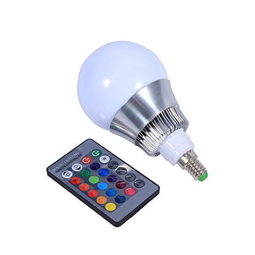 E14 10W RGB LED Color Changing Light Bulb 85-265V IR Remote Control for Custom Timing Setting Home - Mall Timings Great