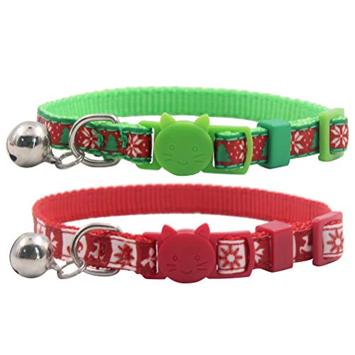EXPAWLORER 2 Pack Cat Collars Christmas - Sturdy Nylon Adjustable Collars Quick Release Buckle Small to Large Cats