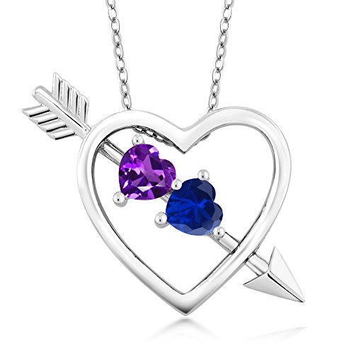 Amethyst Blue Sapphire Necklace (1.01 Ct Purple Amethyst Blue Simulated Sapphire Silver Heart and Arrow Pendant)