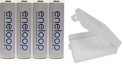 (Eneloop QS-RXXW-NU9Y Newest Version 4th Generation AA NiMH Pre-Charged 2100 Times Rechargeable Battery with Holder Pack of 4)