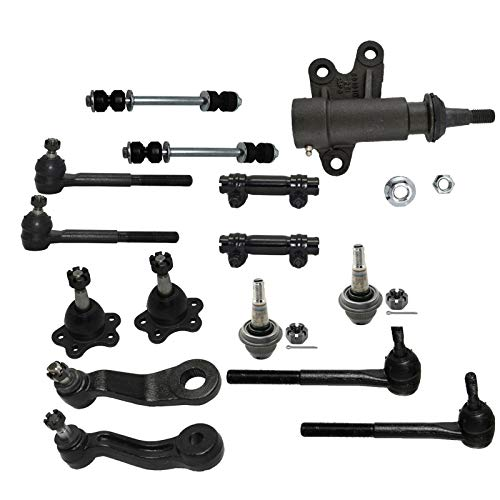 (Detroit Axle - 15PC Front Upper Lower Ball Joint, Sway Bar and Inner Outer Tie Rod Kit for 1995-1999 Escalade K1500 K2500 K1500 Suburban Yukon Tahoe - 4WD Stamped Steel Lower Control Arms Models)