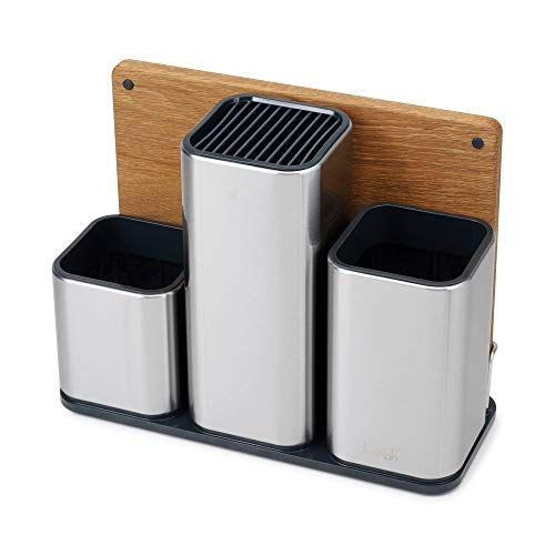 (Joseph Joseph 95026 CounterStore Kitchen Utensil Holder Knife Block and Cutting Board Set, Stainless Steel)