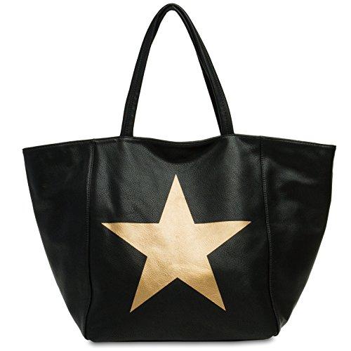 CASPAR Fashion - Bolso de asas para mujer negro