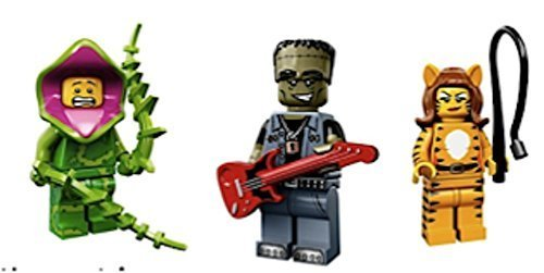 Plant Guy, Tiger Lady, Frankenstein Guitar Rocker : Lego Collectible Minifigures Series 14 Monsters, Zombies, Halloween Custom Bundle 71010