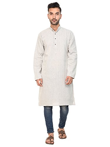 SKAVIJ Mens Kurta Shirt Long Sleeve Dress Button Down Standard Fit Cotton Casual Long Shirt by SKAVIJ