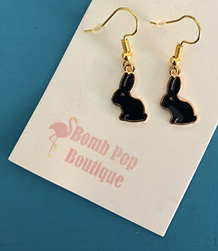 Gold Tone Spring Black Bunny charm Dangle Earrings on French Wires - Bunnies Jewelry -