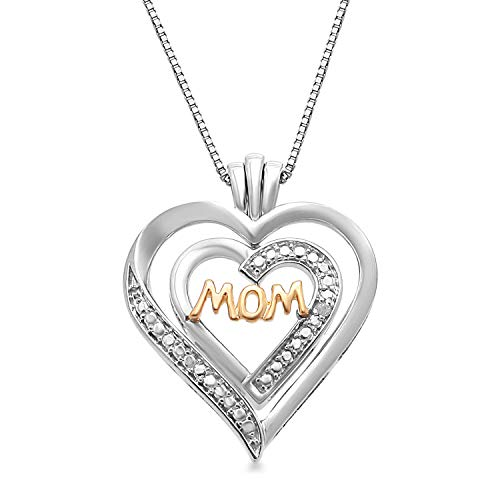 (Jewelili 14kt Yellow Gold Plated Sterling Silver Natural White Diamond Accent 2 Piece MOM Cut Out Heart Pendant Necklace, 18