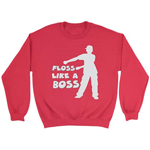 - Floss Like a Boss Crewneck Sweatshirt, Floss Dancing Gifts for Dancers, Red, X-Large