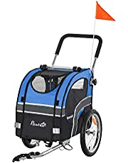 Aosom Dog Bike Trailer 2-in-1 Pet Stroller Cart Bicycle Wagon Cargo Carrier Attachment for Travel with 360° Swivel Wheel Reflectors Flag Blue