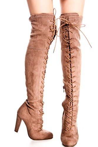 Lolli Couture Elegance Faux Leather Side Zipper Over The Knee Platform Boots Taupe-dasia-14 0goWNsi