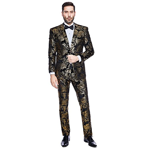 Chinese Mens Jacket Pants (MAGE MALE Men's 2 Piece Golden Suit Slim Fit Formal Party Two-Button Blazer Jacket Pants Sets)