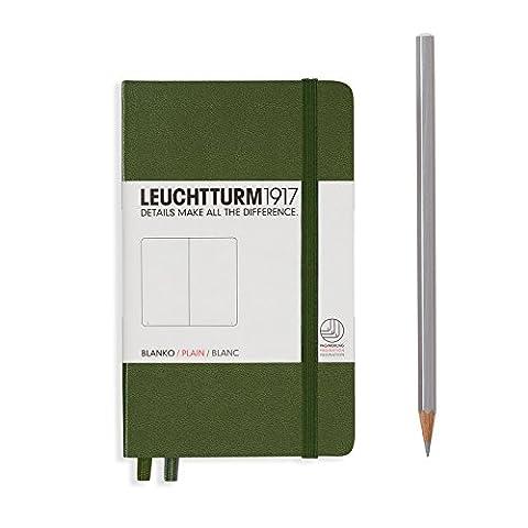 "Leuchtturm 1917 Hard Cover Small (A6) Pocket Journal, Army, Plain, 3.5"" x 5.9"" - Slim Pocket Diary"