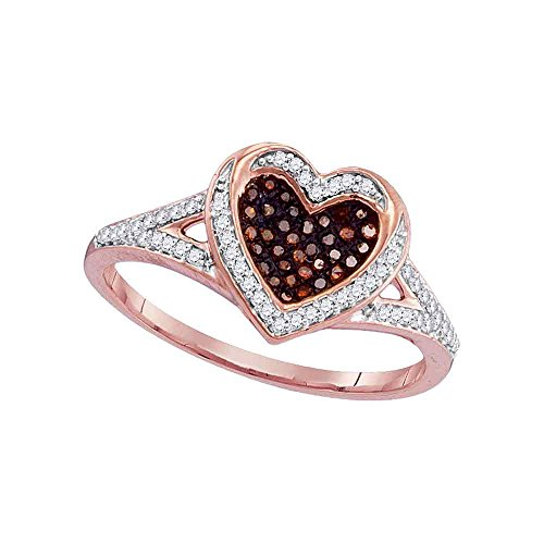 10kt Rose Gold Womens Round Red Color Enhanced Diamond Heart Love Ring 1/5 Cttw by Saris and Things