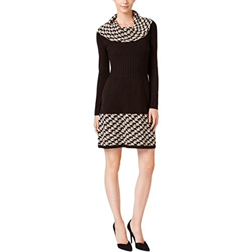 Jessica Howard Womens Petites Cowl-Neck Patterned Sweaterdress Black PL