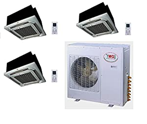 YMGI Tri Zone - 54,000 BTU (18K +18K+18K) Ceiling Mounted Mini Split Air Conditioner with Heat Pump for Home, Office, Apartment with 25 Ft Lineset installation Kits