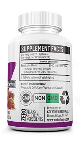 Pure Forskolin 3000mg Max Strength - Forskolin Extract for Weight Loss - Premium Appetite Suppressant, Metabolism Booster, Carb Blocker & Fat Burner for Men and Women - 3 Pack by Nutra Forge (Image #5)