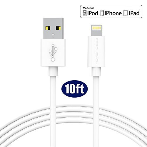 Lightning Cable, ZeroLemon iPhone Charging Cable(10ft/3m) MFi Certified for iPhone X iPhone 8 iPhone 8 Plus iPhone 7 iPhone 7 Plus iPhone 6 iPhone 6 Plus and More-White