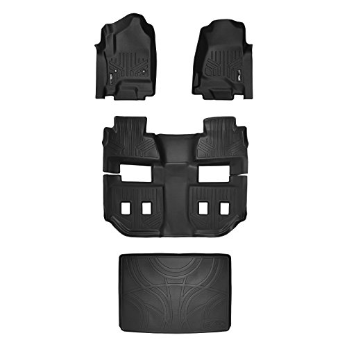 (SMARTLINER Custom Fit Floor Mats 3 Rows and Cargo Liner Behind 3rd Row Set Black for 2015-2019 Chevy Suburban/GMC Yukon XL)