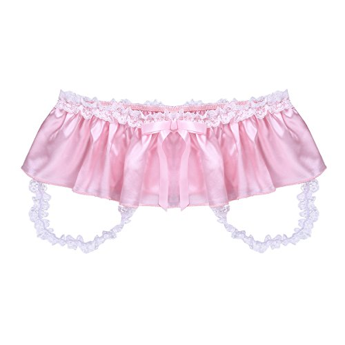 ACSUSS Men's Sissy Panties Frilly Satin Jockstrap Crotchless Skirted Underwear Pink X-Large(Waist 34.0-56.0''/86-144cm) by ACSUSS