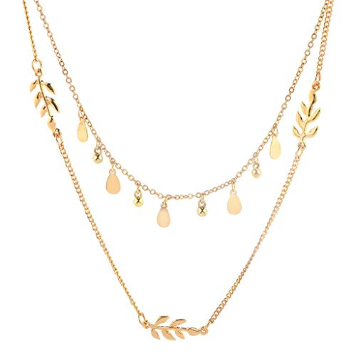 Long Layered Pendant Necklace,Haluoo Women Stylish Natural Shell Choker With Long Embossing Metal Chain Ladies Gilding Shell Necklace With Long Waterdrop Pendant Chain Gold Trendy Long Necklace (Gold)