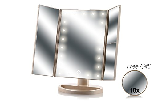Asani Tri-Fold Lighted Magnification Makeup Mirror with a FREE 10X Spot Mirror | 21 LED Lights & Touch Controls | 1X / 2X & 3X Magnifying Cosmetic Vanity Folding Mirrors for Dresser and Travel (Gold) - 3rd Degree Makeup