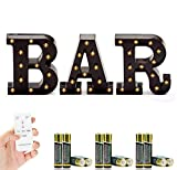 Marquee BAR Sign with Lights - Light Up Black B-A-R Letters for Home Decor or Business Signs - Includes Remote Control and Batteries - LED Lighted Vintage DIY Accessories and Decorations for Bars