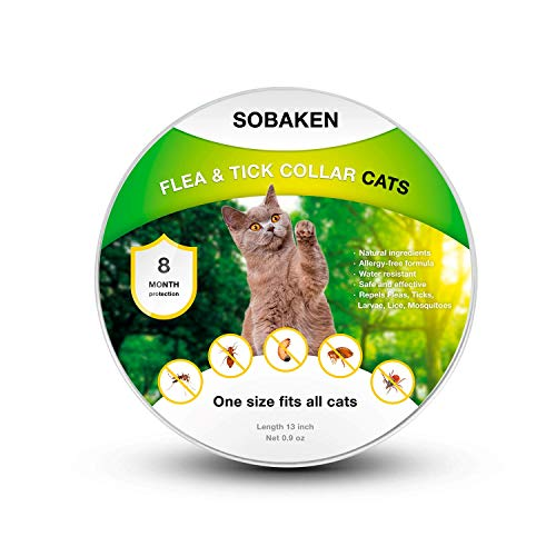 SOBAKEN Flea and Tick Prevention for Cats, Natural Flea and Tick Collar for Cats, One Size Fits All, 13 inch, 8 Month Protection, Charity