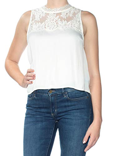 - Free People Womens Lace Fringe Crop Crop Top Ivory M