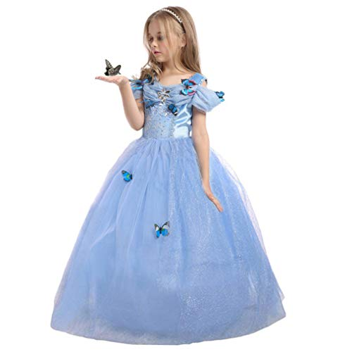 EnjoyFashion Girls' 2015 New Cinderella Dress Princess Costume Butterfly 7-8 Blue