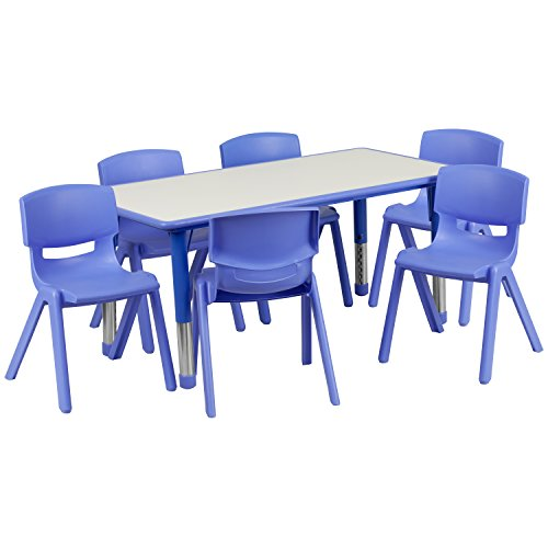(Flash Furniture 23.625''W x 47.25''L Rectangular Blue Plastic Height Adjustable Activity Table Set with 6 Chairs )