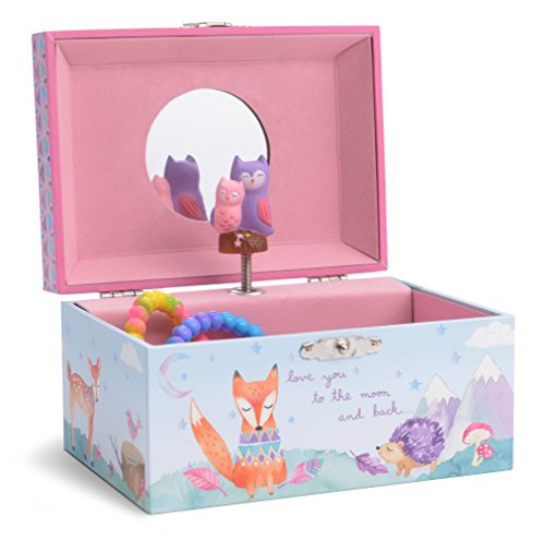 JewelKeeper Girl's Musical Jewelry Storage Box with Spinning Owls, Woodland Design, Twinkle Twinkle Little Star Tune by JewelKeeper