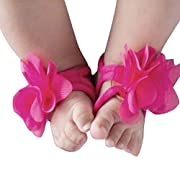FEITONG@ 2017 0-12M Baby Toddler Infant Girls Barefoot Beach Sandals Shoes (Hot Pink)